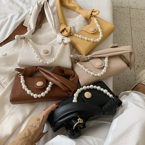 New summer fashion crocodile pattern pearl bag all-match casual one-shoulder  bag NHLH253628's discount tags