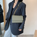 Casual crocodile pattern chain shoulder small square bag   solid color messenger bag NHLH253643