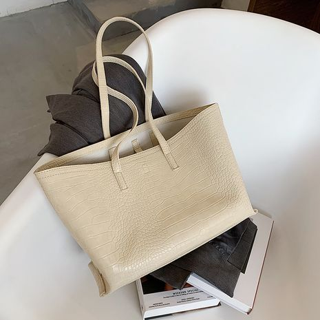 large-capacity bag  new trendy fashion stone pattern shoulder  all-match  soft leather bag  NHLH253652's discount tags