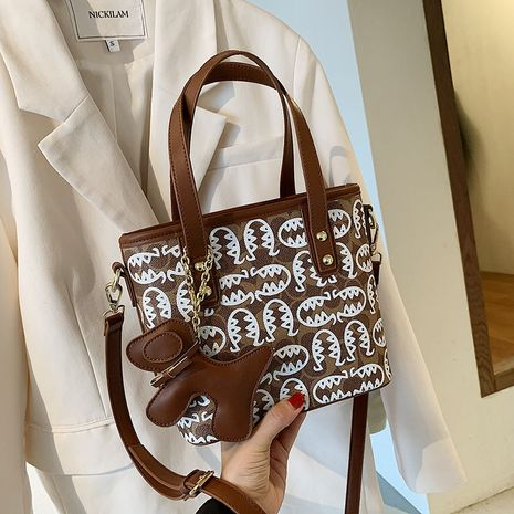 New trendy wild portable messenger bag fashion texture one-shoulder bucket bag NHLH253671's discount tags