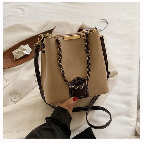 New trendy  one-shoulder messenger bag simple fashion all-match chain bucket bag NHLH253688's discount tags