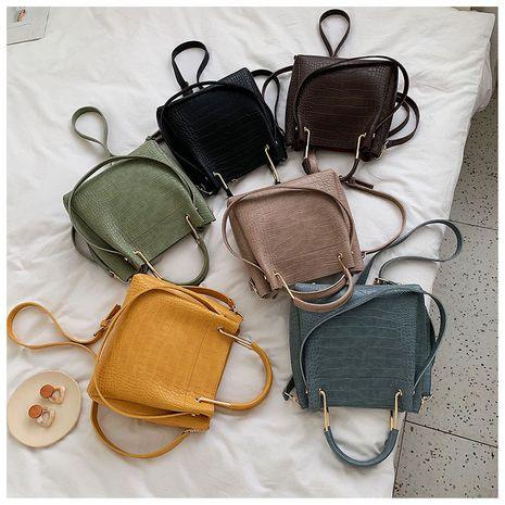 nuevo bolso de cubo pequeño de un solo hombro con patrón de piedra retro de moda negra cruzada coreana NHLH253741's discount tags