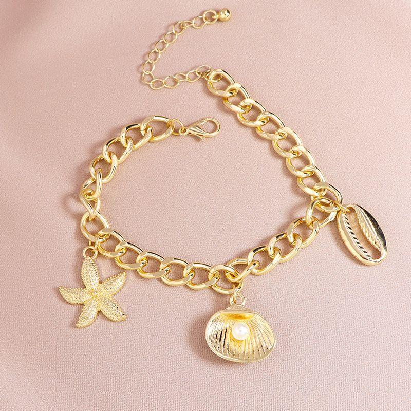 Fashion summer seaside vacation video metal shell starfish alloy bracelet NHGU253770