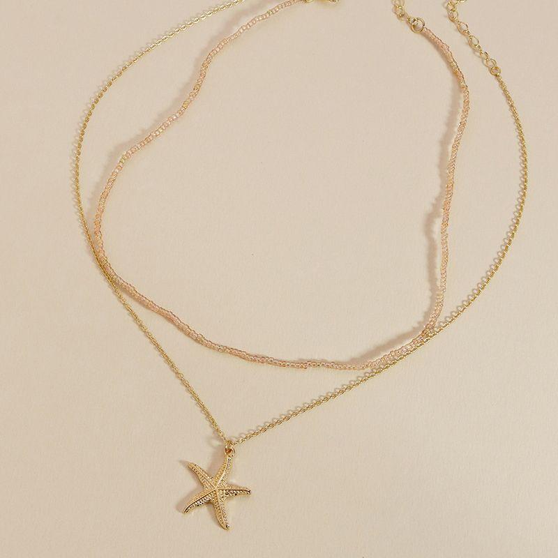 New  rice beads holiday style metal starfish necklace set hotselling jewelry NHGU253818
