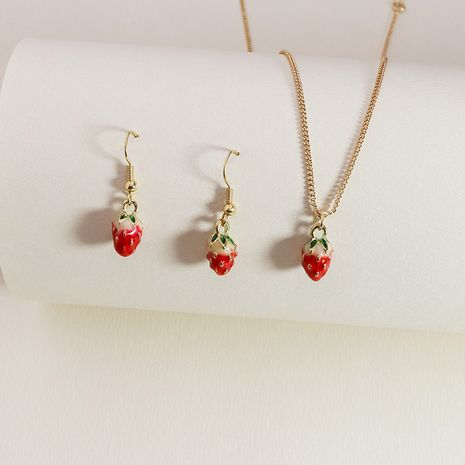 new fruit strawberry hot-selling alloy necklace earrings set NHGU253860's discount tags