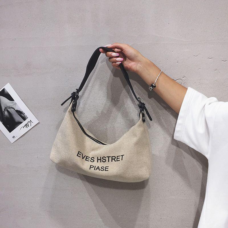 New trendy fashion allmatch canvas shoulder bag handbag  NHTC253880