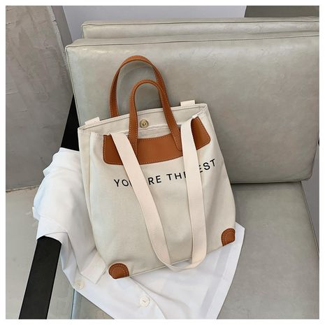 New trendy fashion wild canvas shoulder bag  simple portable Large-capacity bag     NHTC253881's discount tags