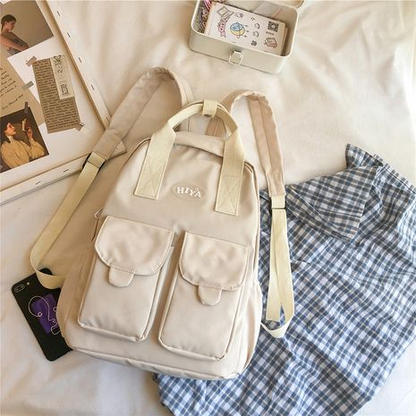 Color matching  portable shoulder  Canvas student bag wholesale NHTC253884's discount tags