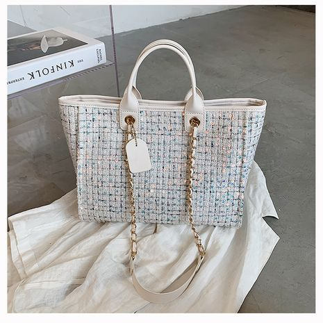 New trendy fashion all-match woolen single shoulder bagchain portable Large-capacity bag NHTC253954's discount tags