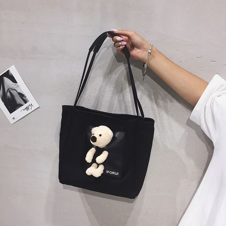 New trendy  one-shoulder canvas bag Korean   tote bag wholesale NHTC253960's discount tags