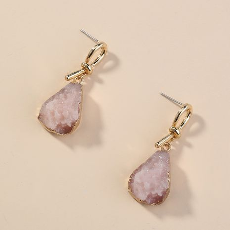 Retro pop earrings edging pink imitation natural stone drop earrings  NHAN254012's discount tags