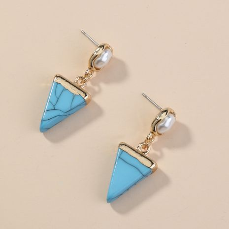 Hot-selling compact  blue triangle turquoise stud earrings wholesale NHAN254014's discount tags