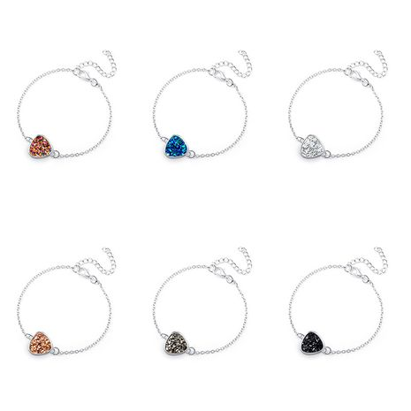 hot-saling peach heart simple natural stone  cluster Christmas crystal alloy bracelet  NHAN254018's discount tags