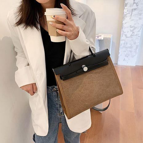 fashion new British retro briefcase single shoulder messenger Canvas women's bag NHGA254039's discount tags