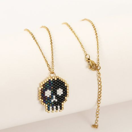 Halloween Skull Korean fashion Cute Hand-woven Rice Bead Pendant Necklace  NHLA254079's discount tags