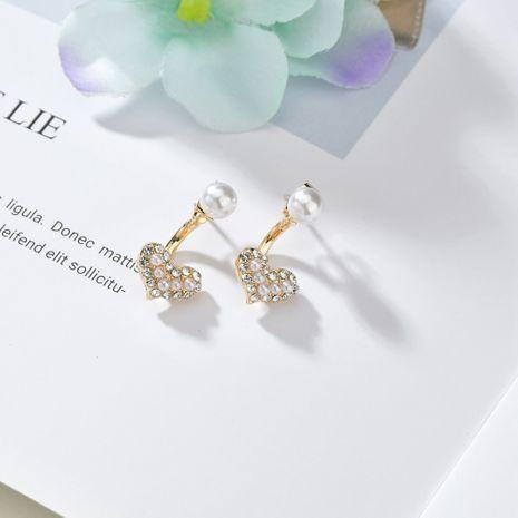 Corée simple perle diamant amour 925 aiguille en argent avant arrière mignon petites boucles d'oreilles en alliage NHBQ254086's discount tags