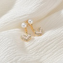 Korea Simple Pearl Diamond Love 925 Silver Needle Front  Rear Cute Small alloy Earrings NHBQ254086