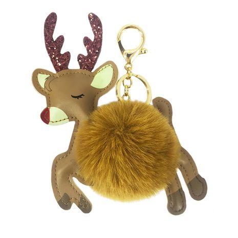Nuevo llavero de bola de piel de alce de Navidad de dibujos animados de PU NHAP254092's discount tags