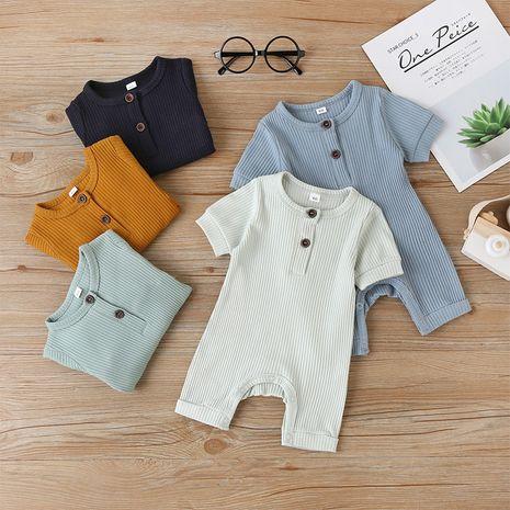 Ropa para niños color sólido bebé de una pieza de verano de manga corta al por mayor NHLF254104's discount tags