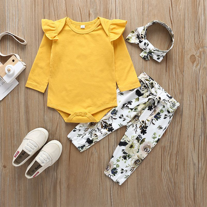 Newborn baby suit long-sleeved romper trousers printing fashion baby 3-piece children's clothing wholesale  NHLF254112