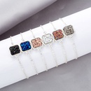 Fashion square crystal cluster fashion natural stone love alloy bracelet NHAN254164
