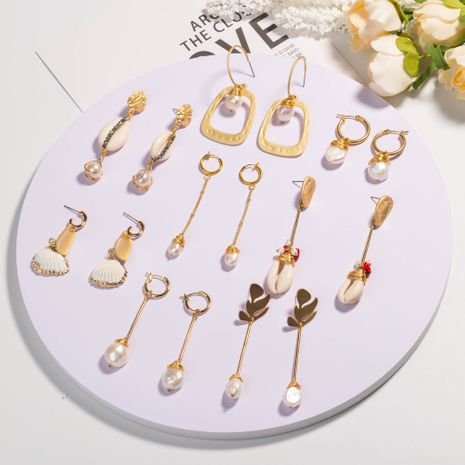 hot-selling natural pearl exaggerated creative leaf shell stone element earrings wholesale NHAN254168's discount tags