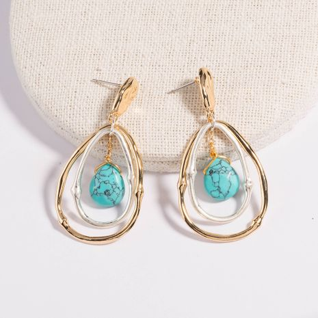 fashion exaggerated metal texture retro sandy silver droplets layered turquoise earrings wholesale NHAN254174's discount tags