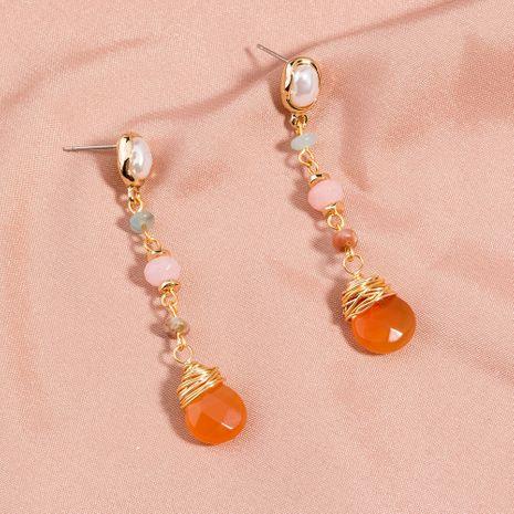 Retro simple pure white pearl earrings long tassel orange natural stone earrings wholesale NHAN254177's discount tags