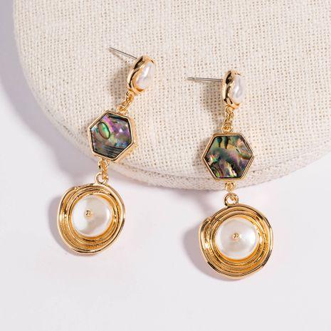 Retro geométrico barroco perla abulón moda larga simétrica textura de metal pendientes al por mayor NHAN254179's discount tags