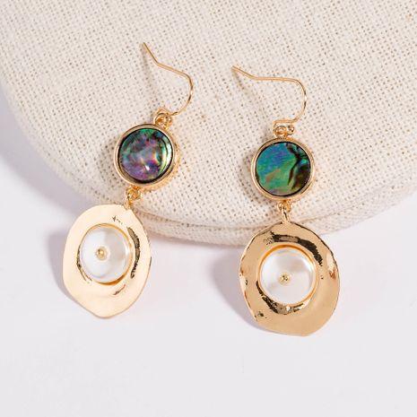 Moda exagerada popular forma geométrica abulón concha plana pendientes de perlas al por mayor NHAN254180's discount tags