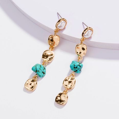 Hot Selling Pure White Pearl Long Tassel Metal Disc Turquoise Earrings wholesale NHAN254181's discount tags