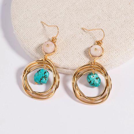 ladies creative retro geometric natural stone metal tassel earrings wholesale NHAN254182's discount tags