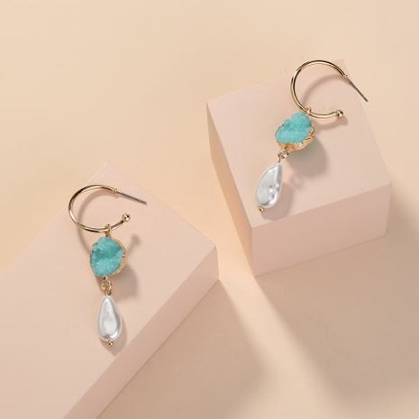 fashion hot-selling elegant light green crystal cluster pearl C-shaped ear hook earrings wholesale NHAN254186's discount tags