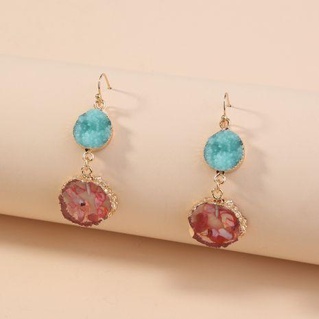 fashion creative contrast color design retro imitation natural stone pendant earrings wholesale NHAN254187's discount tags