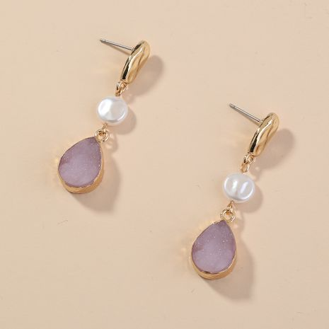 fashion retro pink drop pendant popular simple earlobe earrings wholesale NHAN254188's discount tags