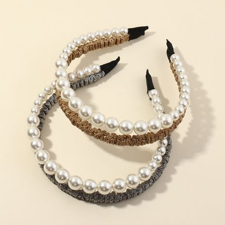 Fashion crystal double-layer claw chain pearl headband   NHAU254196's discount tags