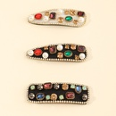 Korean color rhinestone dropshaped square BB clip  wholesale NHAU254199