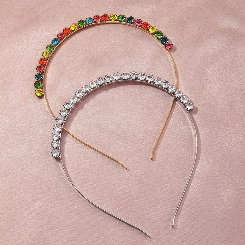 Fashion alloy round rhinestone full diamond color diamond super flash hair band   NHAU254200