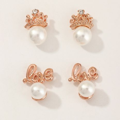 Mode coréenne enfants boucles d'oreilles en zircon incrusté de perles simples exquises en gros NHNU254207's discount tags