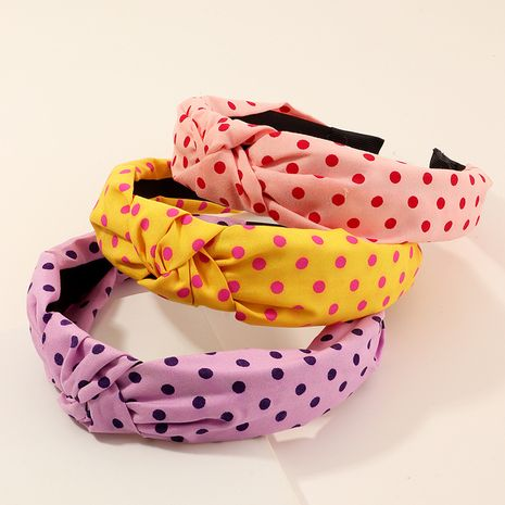 new Korean fashion fabric headband retro wave dot knotted wide side simple headband  NHNU254213's discount tags