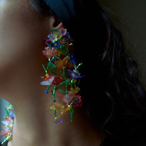 exaggerated long hand-woven tassel flower Bohemian beaded earrings wholesale NHLA254219's discount tags