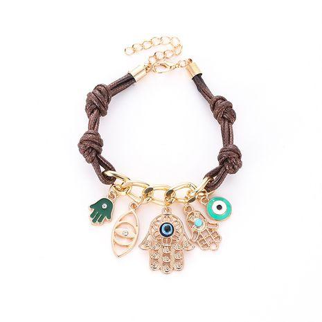 Pulsera colgante de aleación de diamantes de palma de Fátima trenzada con ojo de demonio NHMO254234's discount tags