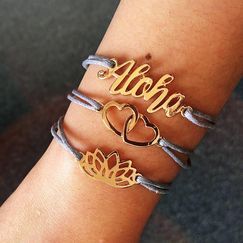 Fashion three-piece letter boho style alloy bracelet  wholesale NHMO254235