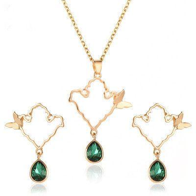 nouveau collier de boucles d'oreilles en alliage de goutte dames papillon en cristal pour les femmes NHMO254243's discount tags
