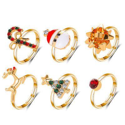 new  cartoon elk Christmas tree ring 6 piece set of oil drop adjustable ring wholesale NHMO254246