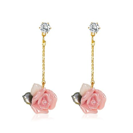 new French palace style rose three-dimensional long flower earrings wholesale NHMO254249's discount tags
