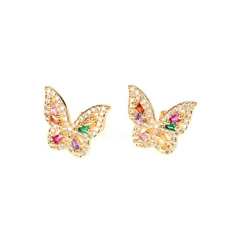new 18k real gold plated butterfly style exquisite color zircon earrings wholesale NHPY254250's discount tags