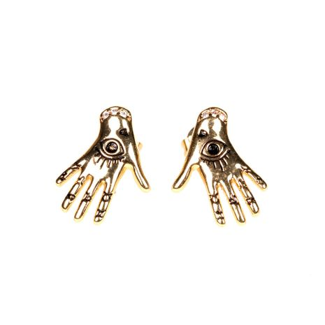 new cool golden palm eye Halloween guardian hand earrings wholesale NHPY254256's discount tags