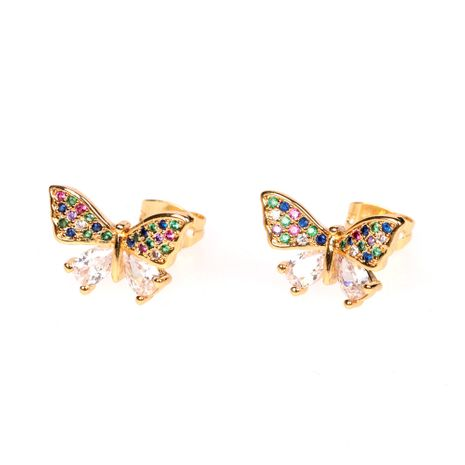 new butterfly simple color zircon butterfly earrings wholesale NHPY254263's discount tags
