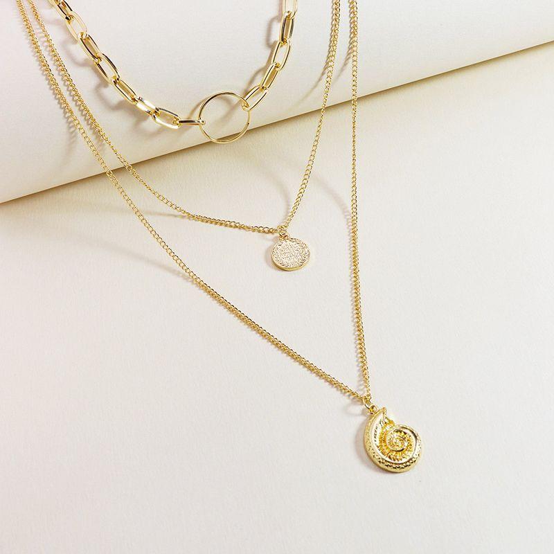 Fashion three-layer gold coin pendant women's necklace  wholesale NHGU254271